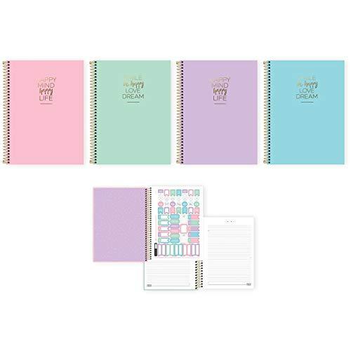 Caderno de 10 Matérias Capa Dura 2020 Happy 160 Folhas - Pacote com 4, Tilibra, 30.544-8, Multicolorido