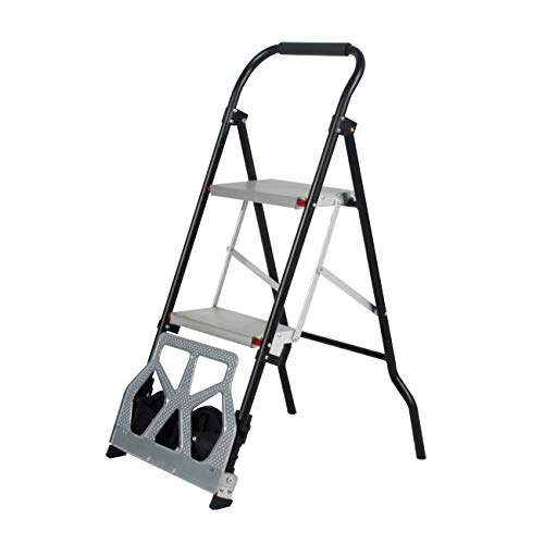 DlandHome - Carrito de mano plegable y escalera de 2 peldaños multiusos para equipaje y escalera