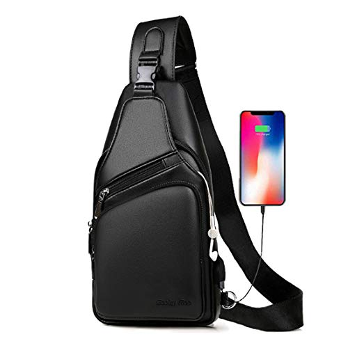 Men's Leather Sling Bag Travel Chest Crossbody Shoulder Backpack with USB Charging Port Black