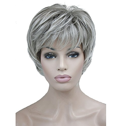 Aimole Short Layered Body Wave Wigs Synthetic Women's Wig Full Hair (48T-Light Gray with Dark Root)