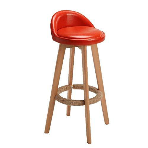 Barhocker mit Lehne, Barstuhl Massivholz Corteccia Küchenhocker Drehen Küchenmöbel Bürohocker Stehhocker (Color : Red)