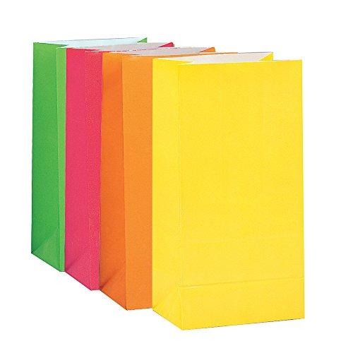 Partytaschen aus Papier - Neon-Sortiment - 10er-Pack