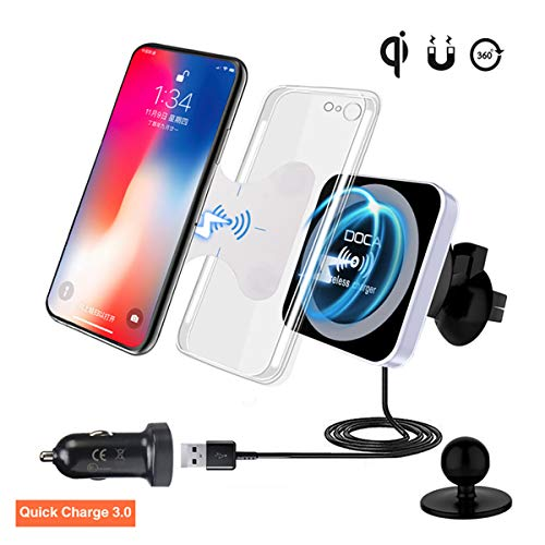 QI Wireless Car Charger with QC3.0 USB Charger, DOCA Magnetic Wireless Car Charger Mount Air Vent Car Cradle Compatible for iPhone XR,XS,X,8,8P, Galaxy Note 8 S8/S8+ S7 Edge & All Qi Enabled Phones