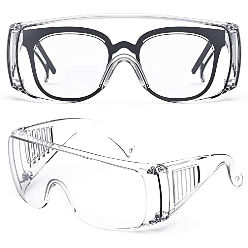 PORPEE Safety Goggles, Anti-Fog Protective Lab Goggles Fit Over Glasses, Anti-Splash, Anti-Scratch, Eye Full Protection Eyewear for Hospital, Medical, Lab, Workplace