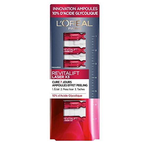 L'Oréal Paris - Revitalift Laser X3 - Ampoules Effet Peeling - Cure 7 Jours - À l'Acide Glycolique - 7x 1,3 ml