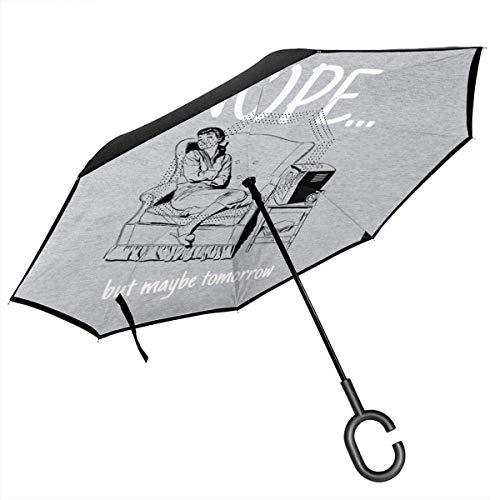 Nein, Aber vielleicht Morgen Retro Comic Sleeping Woman Double Layer Inverted Regenschirm für Auto Reverse Folding Upside Down C-förmige Hände
