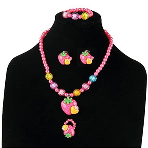 Hajar Juego de pendientes de clip para niñas pequeñas, collar y pulsera para niños, joyas de disfraces, regalos para fiestas de disfraces (fresa)