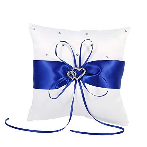 Almohada 4 Colores Almohada de Anillo de Boda Almohada Cojín de Forma Cuadrada con Mancha de Bowknot Corazones Dobles Diamantes Elegante Delicado(Azul)