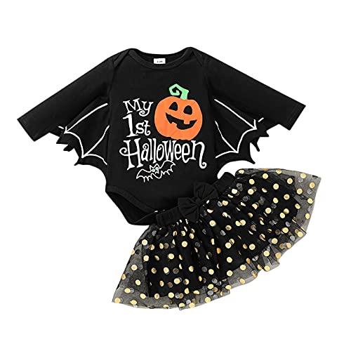 TinaDeer Halloween Neugeborene Kleinkind Baby Mädchen Kleidungsset Cosplay Kostüm Party Baby Lange Ärmel Strampler + Tutu Rock Outfits Herbst Winter Kleidungs Set für 0-18 Monate (Schwarz, 6-9M)