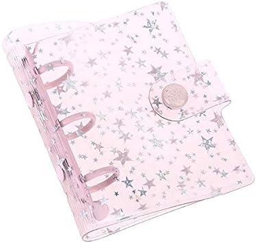 Copertura Cartella Notebook Mini PVC Trasparente Stella 3 Fori Fogli Staccabili Binder Notebook File