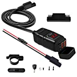 Sae To Usb Charger 12 Volt, Waterproof Motorcycle Dual Usb Fast Charger Port Power Adapter With Red Led Indicator, Voltmeter & On/Off Power Switch &Fuse For Phone, Gps, Tablet,Etc. (RED Voltmeter)