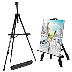 T-Sign 66 Reinforced Artist Easel Stand, Extra Thick Aluminum Metal Tripod Display Easel 21 to 66 Adjustable Height with Portable Bag for Floor/Table-Top Drawing and Displaying