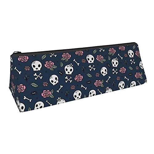 Little Roses and Bones Skulls - Bolsa de almacenamiento para bolígrafos de pequeña capacidad para niños, niñas, colegio, escuela secundaria, oficina, alicates de papelería