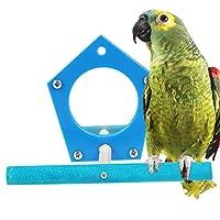 POPETPOP オウムのとまり木、オウムのおもちゃスタンド、ミラー付きの創造的な非毒性の面白い鳥コンゴウインコのアフリカの灰色のセキセイインコのインコのオカメインコ(ランダムな色)