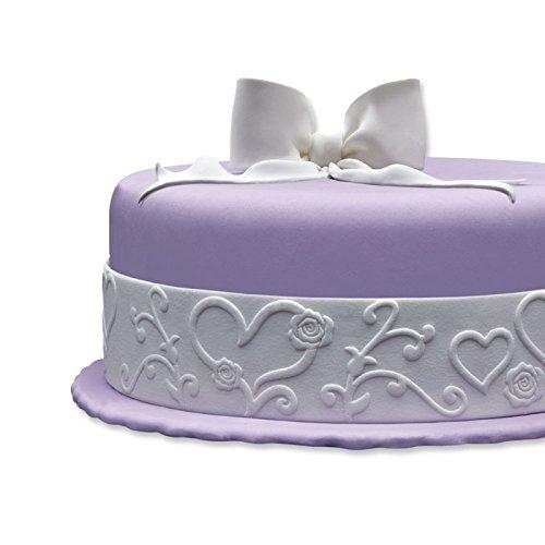 Cake Company Tortendekoration Hochzeit | Fondantrand 5m | Motiv Herz mit Blumen