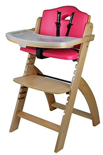 Abiie Beyond Wooden High Chair with Tray. The Perfect Adjustable Baby Highchair Solution for Your Babies and Toddlers or as a Dining Chair. (6 Months up to 250 Lb) (Natural Wood - Red Cushion)