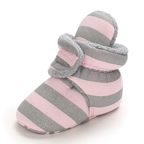 MASOCIO Botas Bebe Niño Niña Invierno Botines Botitas Bebé Recién Nacido Zapatillas Casa Calentar Zapatos Primeros Pasos Talla 19 Rosa 6-12 Meses