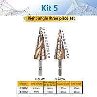 KEKEYANG HSSステップドリルビット4ミリメートル、32ミリメートルスパイラル溝パワーツールHexが卸売価格をシャンク15個のステップ金属掘削チタン (Color : Kit5)