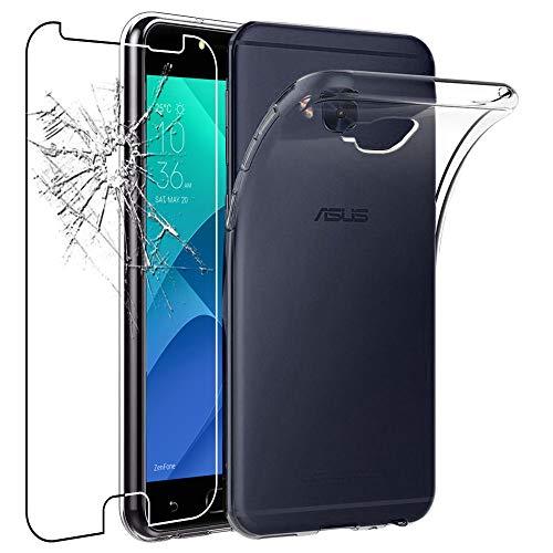 ebestStar - kompatibel mit Asus Zenfone 4 Selfie Pro Hülle ZD552KL Handyhülle [Ultra Dünn], Klar Flex Silikon Schutzhülle, Transparent +Panzerglas Schutzfolie [Phone: 154x74.8x6.9mm 5.5