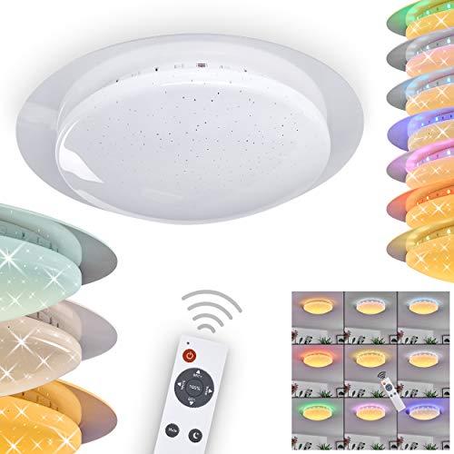 LED Deckenleuchte Cure, dimmbare Deckenlampe aus Kunststoff weiß mit Sternenhimmel-Effekt, Zimmerlampe mit Fernbedienung und RGB Farbwechsler, 1 x LED 13 Watt, 2700-5500 Kelvin, max. 1000 Lumen