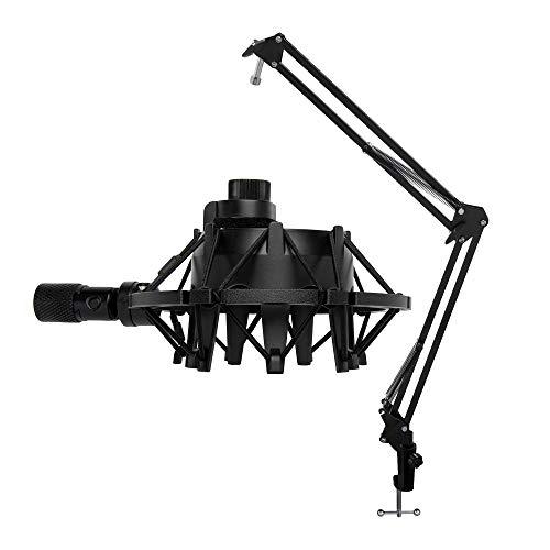 Knox Microphone Suspension Boom Scissor Arm Bundle Yeti Mic Shock Mount - Black (2 Items)