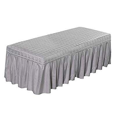 Flameer Solid Color Massage Table Skirt Beauty Facial Bed Bedding Linen Valance Sheet Cover with 21inch Drop Bedskirt - Gray-190x70cm, as described