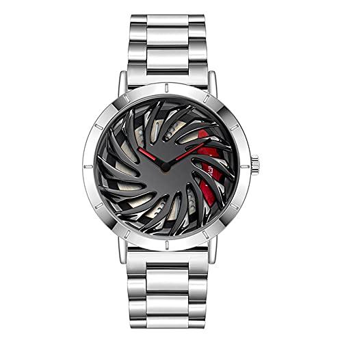 HEEYEE Relojes de Lujo para Hombre con diseño de Rueda de Coche de Primera Marca, Reloj Militar de Cuarzo, Serie de Ruedas, Reloj Impermeable a la Moda,Plata