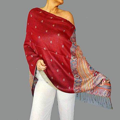 Red Pashmina Shawl Boho Chic Clothes Gypsy Clothing By ZiiCi