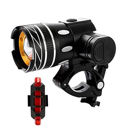 chuanghong Cykelljus fram och bak USB cykel T6 strålkastare USB-laddning vattentät 360 graders roterande natt W Arning Light