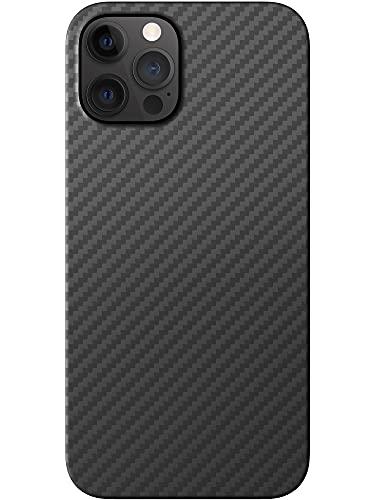 Black Rock - Hülle Carbonhülle Hülle Ultra Dünn Passend für Apple iPhone 12 und 12 Pro I Aramid Handyhülle, Fiber Cover, Kompatibel mit MagSafe, Premium (Schwarz)