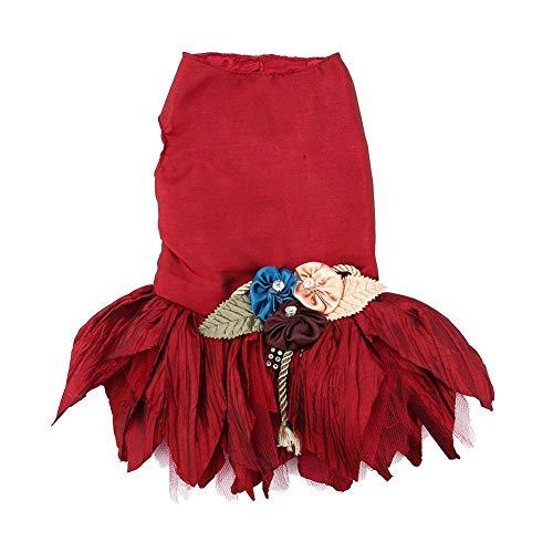 Vestido de Perro Irregular Falda de La Flor Princesa Fiesta de Boda Vestido de Mascota Precioso Mascota Ropa Formal Traje de Novia para Cachorro de Perro(Dark Red XS)