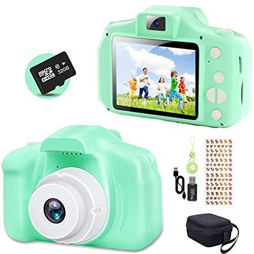 YunLone ToyZoom Macchina Fotografica per Bambini 12MP Selfie Fotocamera Bambino con Scheda 32GB, Custodia, Batteria 1200mAh, Lettore Musicale, Regalo Compleanno per Bambini- Verde