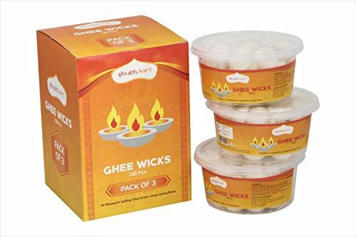 Shubhkart Fertige Diya Dochte / Puja Batti / Diya Batti / Ghee Dochte (3 Stück) je 50 Stück (Mischung von Desi Ghee, Camphor Powder & Paraffin Wachs)