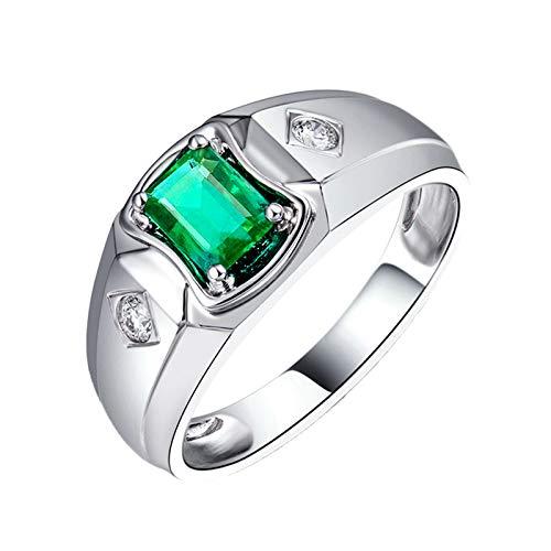 Daesar Anillo Oro Blanco 18 Kilates Hombre,Rectángulo Esmeralda Verde 0.59ct Diamante 0.11ct,Plata Verde Talla 15