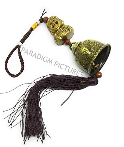 PARADIGM PICTURES Brass Antique Finish Lord Budha Bell with Blessings Hanging Accessory for Rear View Mirror