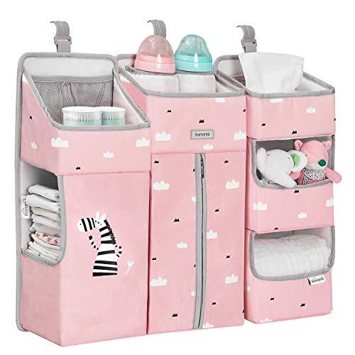 Sunvenoおむつストッカーおむつ収納べビーベッド収納ベッドサイド吊り下げ式おもちゃ出産祝い(ピンク)