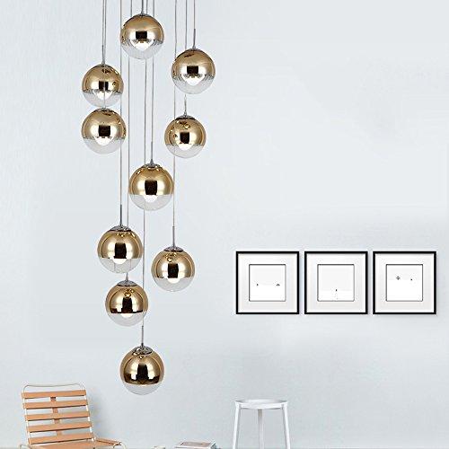 moderne Treppe Kronleuchter 10 Glaskugeln kreative Persönlichkeit Wohnzimmer Leuchte minimalistischen langen Pendelleuchte, 40 * 200 cm (Farbe : Gold) - 4