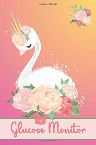 GLUCOSE MONITOR: Go Royal - Beautiful Pinky Gold Swan Cover- Track Your Daily Diabetic Blood Sugar Levels - Medical Logbook Journal - Perfect Gift Idea 6 X 9