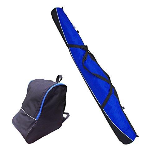 Aves24 SKITASCHE Skisack 150 160 170 180 und 190 cm für Ski mit Stöcke mit/ohne Skischuhtasche reißfeste Skibag (150cm, BLAU mit Schuhtasche)