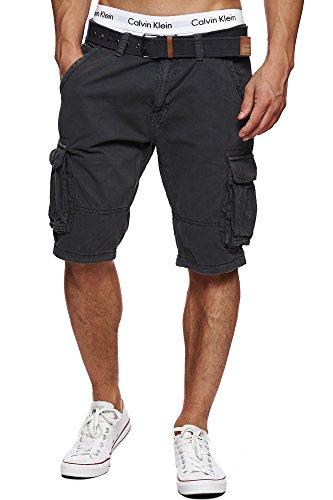 Indicode Herren Monroe Cargo ZA Shorts m. 6 Taschen inkl. Gürtel aus 100{4d780e56c3219303187e5d209fb6c58e4738d3fe06bb5c5714387c657c0af4ae} Baumwolle | Kurze Hose Bermuda Sommer Herrenshorts Short Men Pants Cargohose kurz Sommerhose f. Männer Raven M