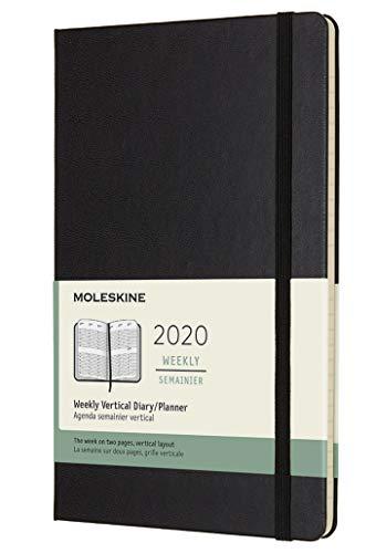Moleskine 12 Mesi 2020 Agenda Settimanale Verticale, Copertina Rigida e Chiusura ad Elastico, Colore Nero, Dimensione Large 13 x 21 cm, 144 Pagine, Taglia L