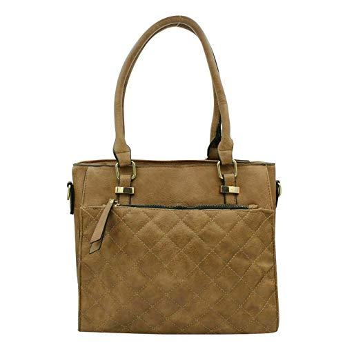 Cecilia Shopper Tasche Schultertasche Handtasche Umhängetasche mit Steppmuster, Taupe