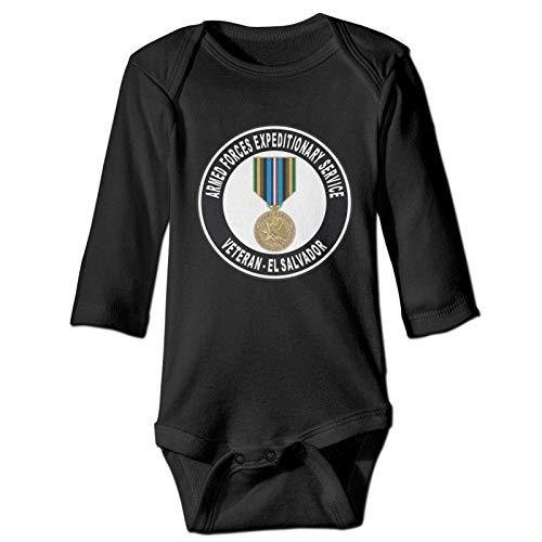 Lsjuee Medalla expedicionaria de Las Fuerzas Armadas Salvador Body de Manga Larga para bebé Traje de Manga Larga Acogedor