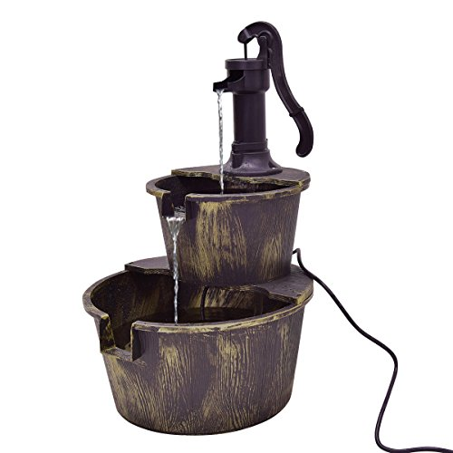 Marketworldcup 3 Tier Barrel Waterfall Fountain Barrel Water Fountain Pump Outdoor Garden