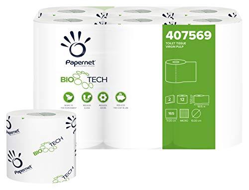 PAPERNET Carta Igienica Bio Tech 407569; Rotolo Fascettato Singolarmente; 2 Veli; 8 Confezioni da 12 Rotoli per 165 Strappi 11 x 9,5 cm; Lunghezza Rotolo 18,1 m; Diametro 10 cm