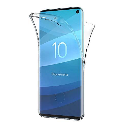 AICEK Compatible Samsung Galaxy S10 Hülle, 360°Full Body Transparent Silikon Schutzhülle für Galaxy S10 Hülle Durchsichtige TPU Bumper Samsung S10 Handyhülle