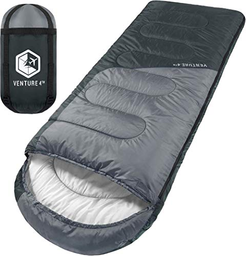 3-Season Sleeping Bag, Single, Regular Size - Lightweight, Comfortable, Water Resistant Backpacking Sleeping Bag for Adults & Kids - Ideal for Hiking, Camping & Outdoor Adventures – Black/Silver
