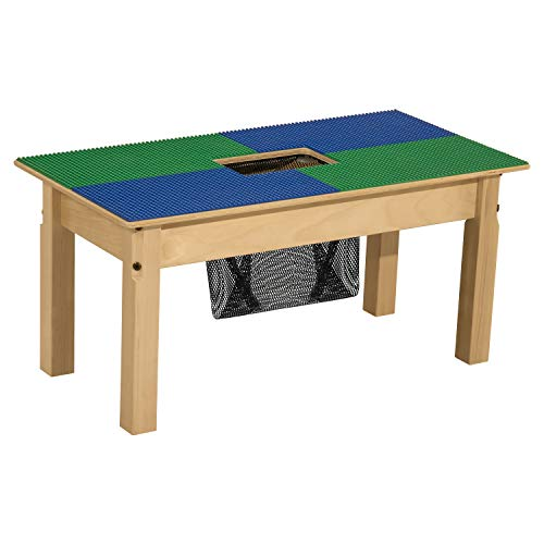 Wood Designs - TP1631SGN14-BG -TP1631SGN Time-2-Play Lego Compatible Table with Storage in Wood for Kids/Toddlers, Blue & Green, 14.5' Legs
