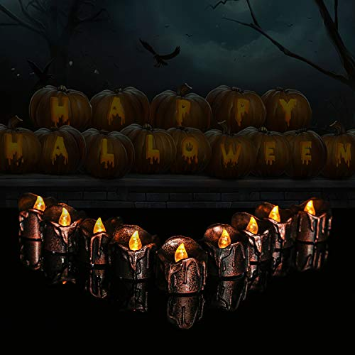 Micandle 12 PCS Black Copper LED Tealights Wax Dripped Yellow Flickering Battery Operated Flameless Candles Lights Flickering Amber for Festival Halloween Home Decorations Party