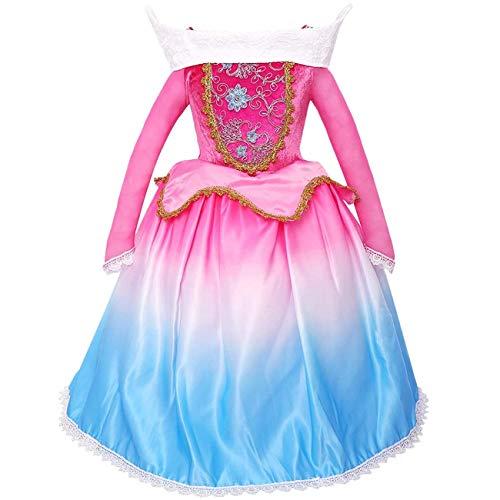 O.AMBW Aurora Prinzessin Kleid Kostüm Mädchen Party Kleid Zeremonie Kleid Halloween Ostern Cosplay verkleiden Fee Prinzessin Kostüm Ballerina Schönheitswettbewerb Fotoshooting Baby Kind 3-10 Jahre alt